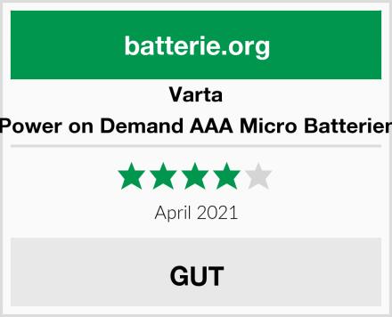 Varta Power on Demand AAA Micro Batterien Test