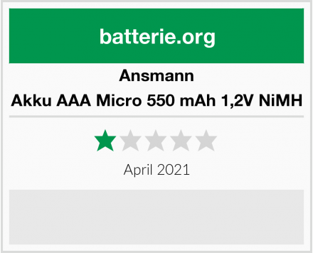 Ansmann Akku AAA Micro 550 mAh 1,2V NiMH Test