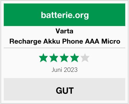 Varta Recharge Akku Phone AAA Micro Test
