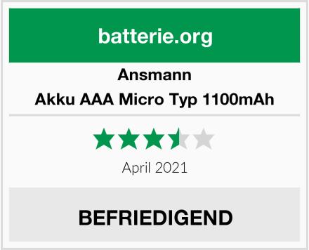 Ansmann Akku AAA Micro Typ 1100mAh Test