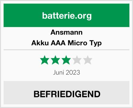 Ansmann Akku AAA Micro Typ 1100mAh 4er Set Test