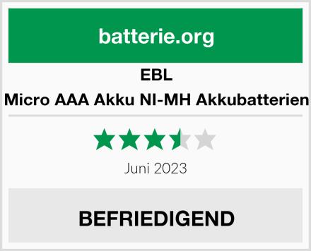 EBL Micro AAA Akku NI-MH Akkubatterien Test