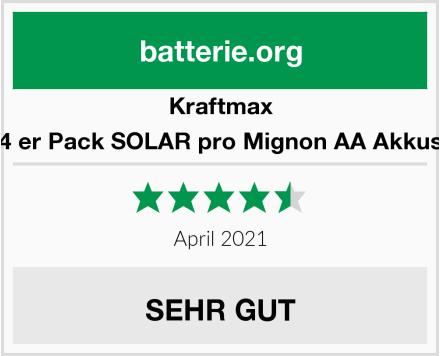 Kraftmax 4 er Pack SOLAR pro Mignon AA Akkus Test