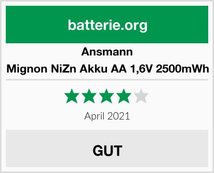 Ansmann Mignon NiZn Akku AA 1,6V 2500mWh Test