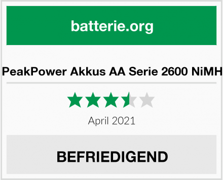No Name PeakPower Akkus AA Serie 2600 NiMH Test