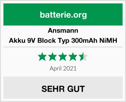Ansmann Akku 9V Block Typ 300mAh NiMH Test