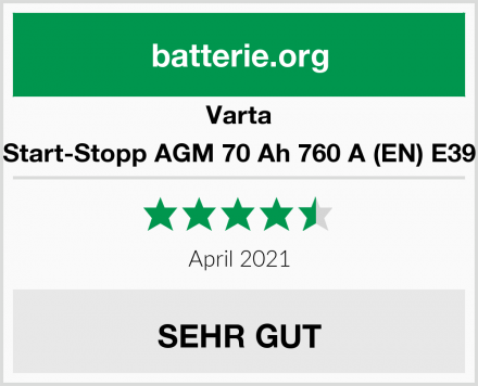 Varta Start-Stopp AGM 70 Ah 760 A (EN) E39 Test