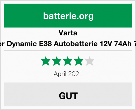 Varta Silver Dynamic E38 Autobatterie 12V 74Ah 750A Test