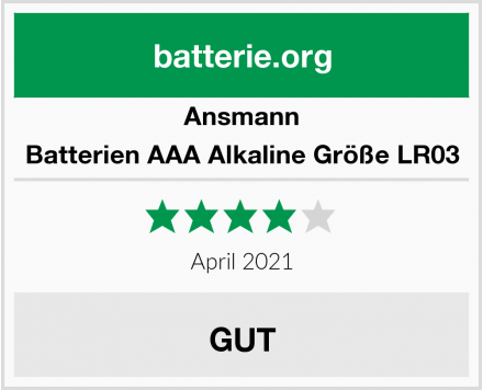 Ansmann Batterien AAA Alkaline Größe LR03 Test