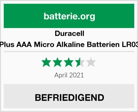 Duracell Plus AAA Micro Alkaline Batterien LR03 Test