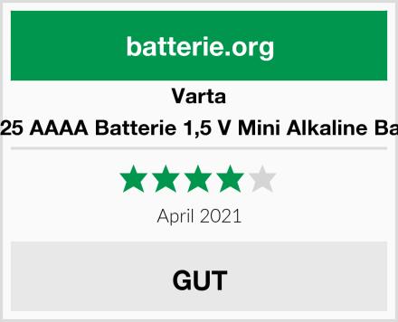 Varta LR8D425 AAAA Batterie 1,5 V Mini Alkaline Batterien Test