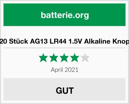 HQB 20 Stück AG13 LR44 1.5V Alkaline Knopfzelle Test