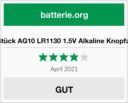 No Name 20 Stück AG10 LR1130 1.5V Alkaline Knopfzelle Test