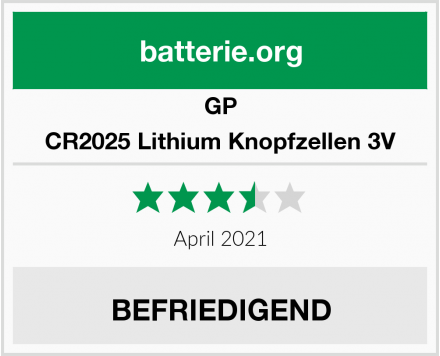 GP CR2025 Lithium Knopfzellen 3V Test