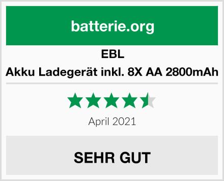 EBL Akku Ladegerät inkl. 8X AA 2800mAh Test