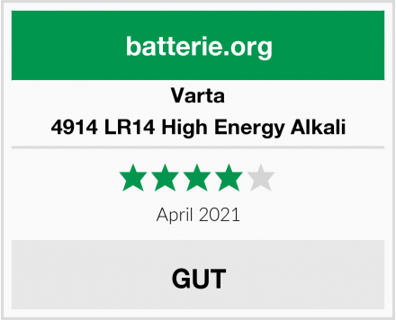 Varta 4914 LR14 High Energy Alkali Test