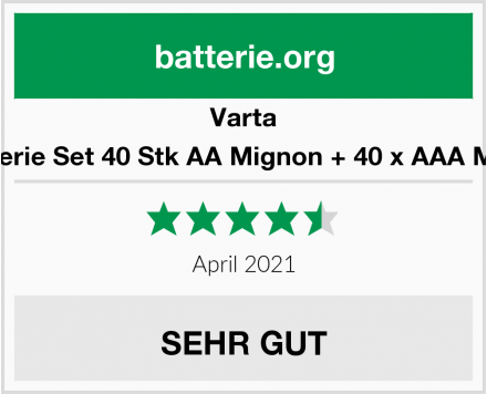 Varta Batterie Set 40 Stk AA Mignon + 40 x AAA Micro Test