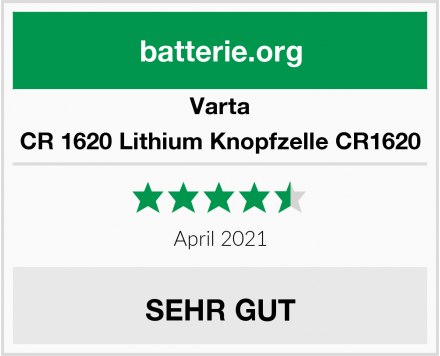 Varta CR 1620 Lithium Knopfzelle CR1620 Test