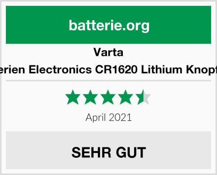 Varta Batterien Electronics CR1620 Lithium Knopfzelle Test