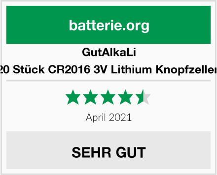 GutAlkaLi 20 Stück CR2016 3V Lithium Knopfzellen Test