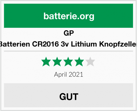 GP Batterien CR2016 3v Lithium Knopfzellen Test