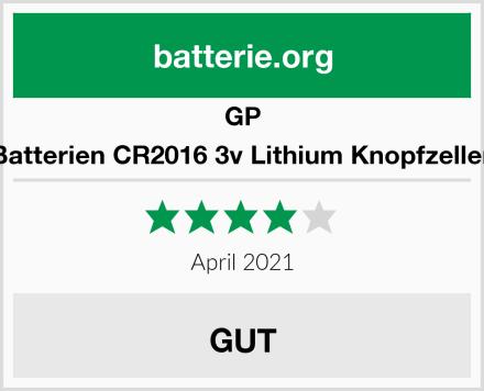 GP Batterien CR2016 3v Lithium Knopfzellen Test