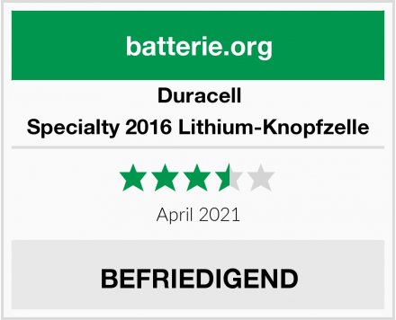 Duracell Specialty 2016 Lithium-Knopfzelle Test