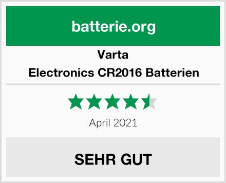 Varta Electronics CR2016 Batterien Test