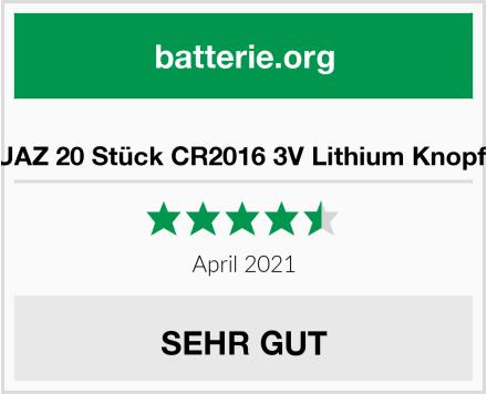 JZHUAZ 20 Stück CR2016 3V Lithium Knopfzelle Test