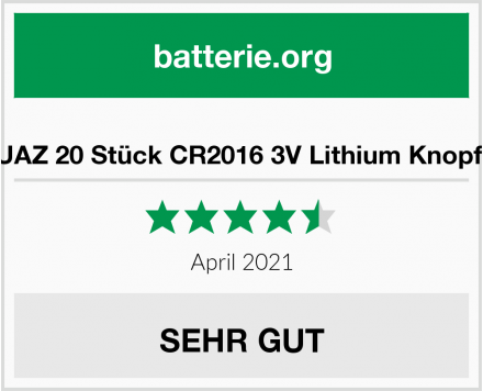 No Name JZHUAZ 20 Stück CR2016 3V Lithium Knopfzelle Test