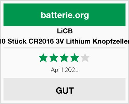 LiCB 10 Stück CR2016 3V Lithium Knopfzellen Test