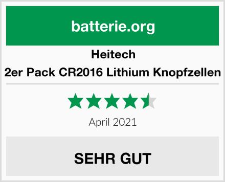 Heitech 2er Pack CR2016 Lithium Knopfzellen Test