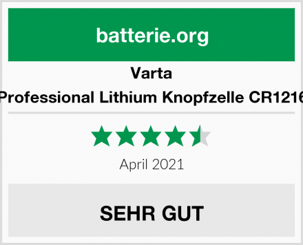 Varta Professional Lithium Knopfzelle CR1216 Test