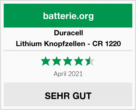 Duracell Lithium Knopfzellen - CR 1220 Test