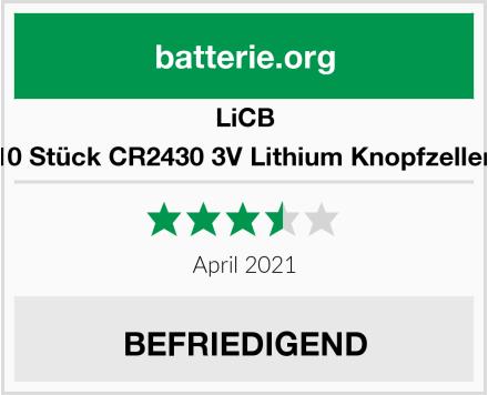 LiCB 10 Stück CR2430 3V Lithium Knopfzellen Test