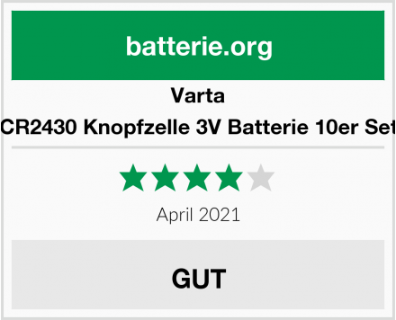 Varta CR2430 Knopfzelle 3V Batterie 10er Set Test