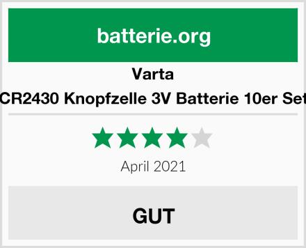 Varta CR2430 Knopfzelle 3V Batterie 10er Set Test