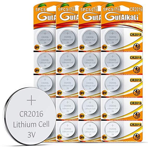 GutAlkaLi 20 Stück CR2016 3V Lithium Knopfzellen