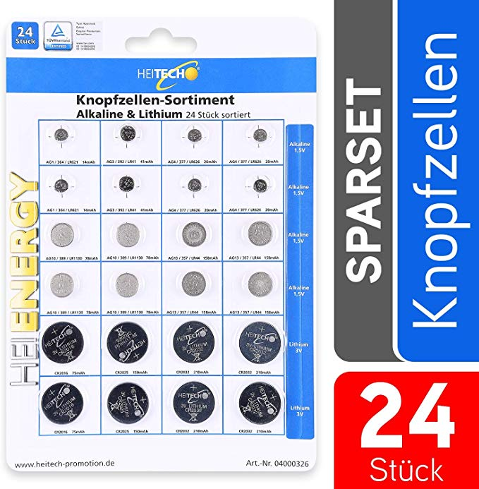 Heitech 24er Pack Alkaline & Lithium Knopfzellen