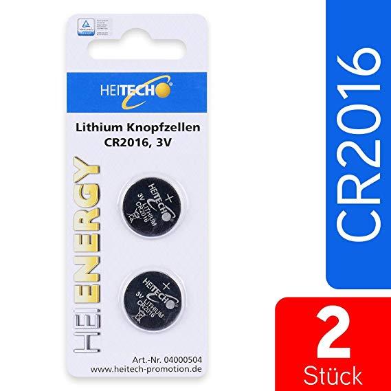 Heitech 2er Pack CR2016 Lithium Knopfzellen