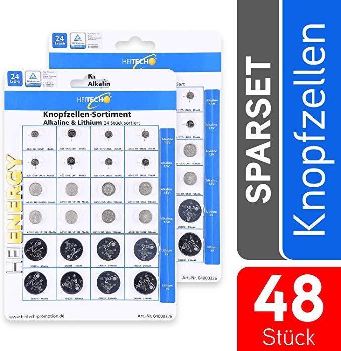 Heitech 48er Pack Alkaline & Lithium Knopfzellen Batterie