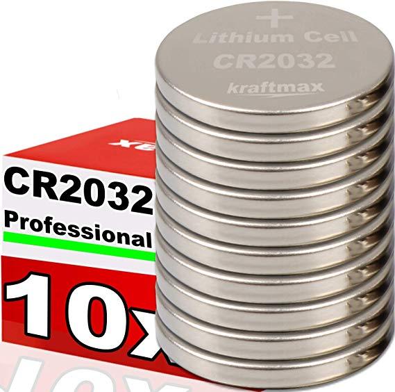 Kraftmax 10er Pack CR2032 Lithium Hochleistungs- Batterie