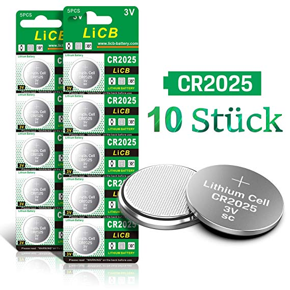 LiCB 10 Stück CR2025 3V Lithium Knopfzellen