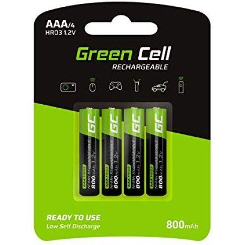 Green Cell 800mAh 1.2V 4 Stck Vorgeladene NI-MH AAA-Akkus