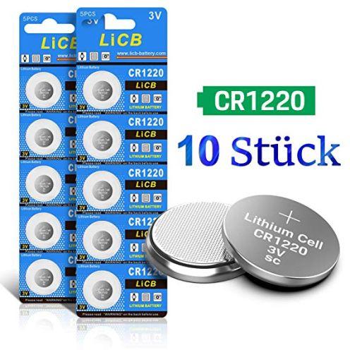 LiCB 10 Stück CR1220 3V Lithium Knopfzellen