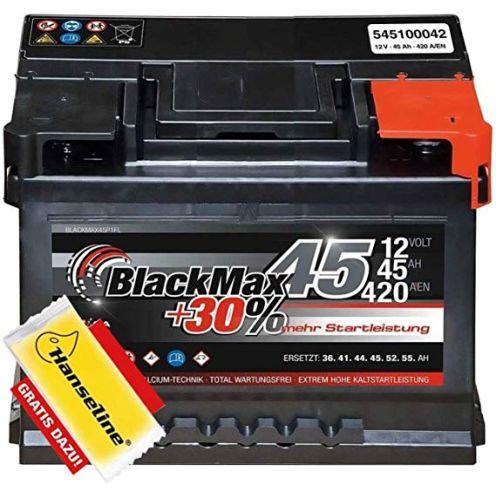 BlackMax Autobatterie 12V 45Ah Starterbatterie