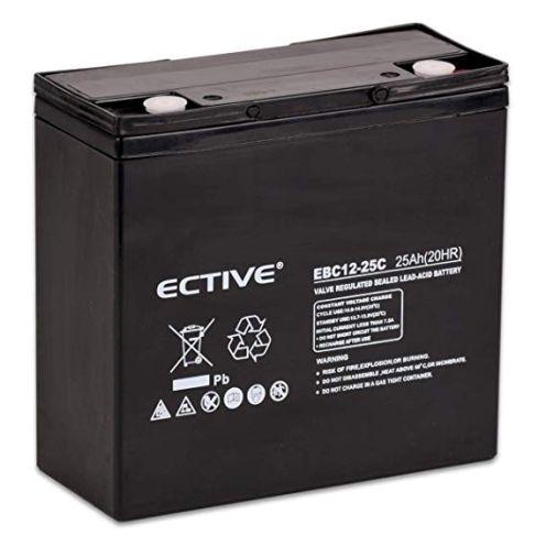ECTIVE Bleiakku 12V 25Ah Zyklenfeste AGM Batterie