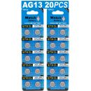 HQB 20 Stück AG13 LR44 1.5V Alkaline Knopfzelle