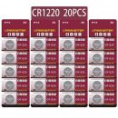 JZHUAZ 20 Stück CR1220 3V Lithium Knopfzelle
